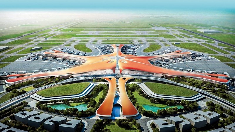 "Daxing, nicknamed ""the starfish"" because of its shape, began construction in 2014 and was designed to be an airport 'for the future'."