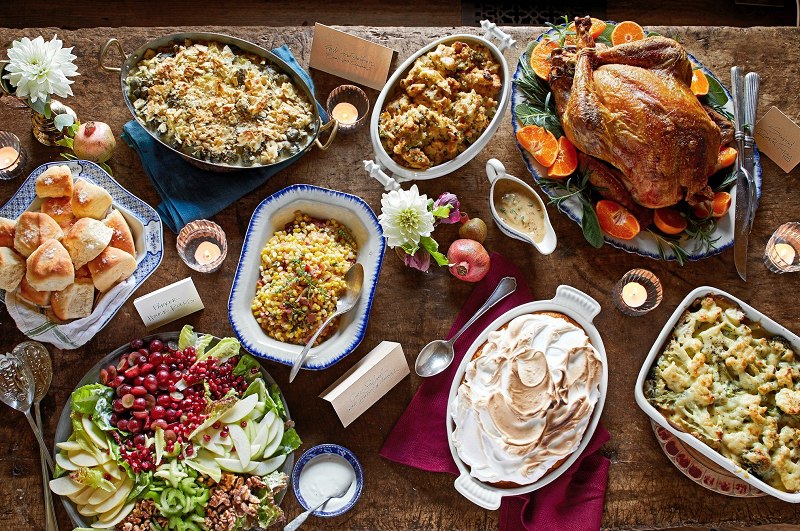 A glimpse of a traditional Thanksgiving meal. [Photo Credit: Country Living]