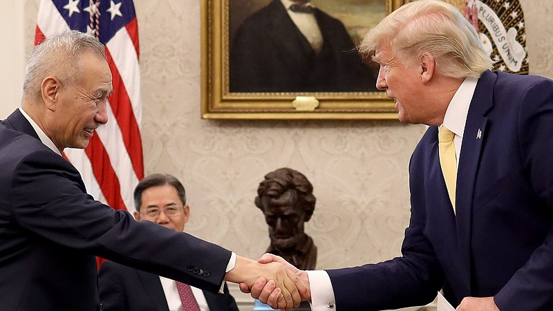 U.S. President Trump greets with Chinese Vice Premier Liu He. [Photo Credit: Axios]