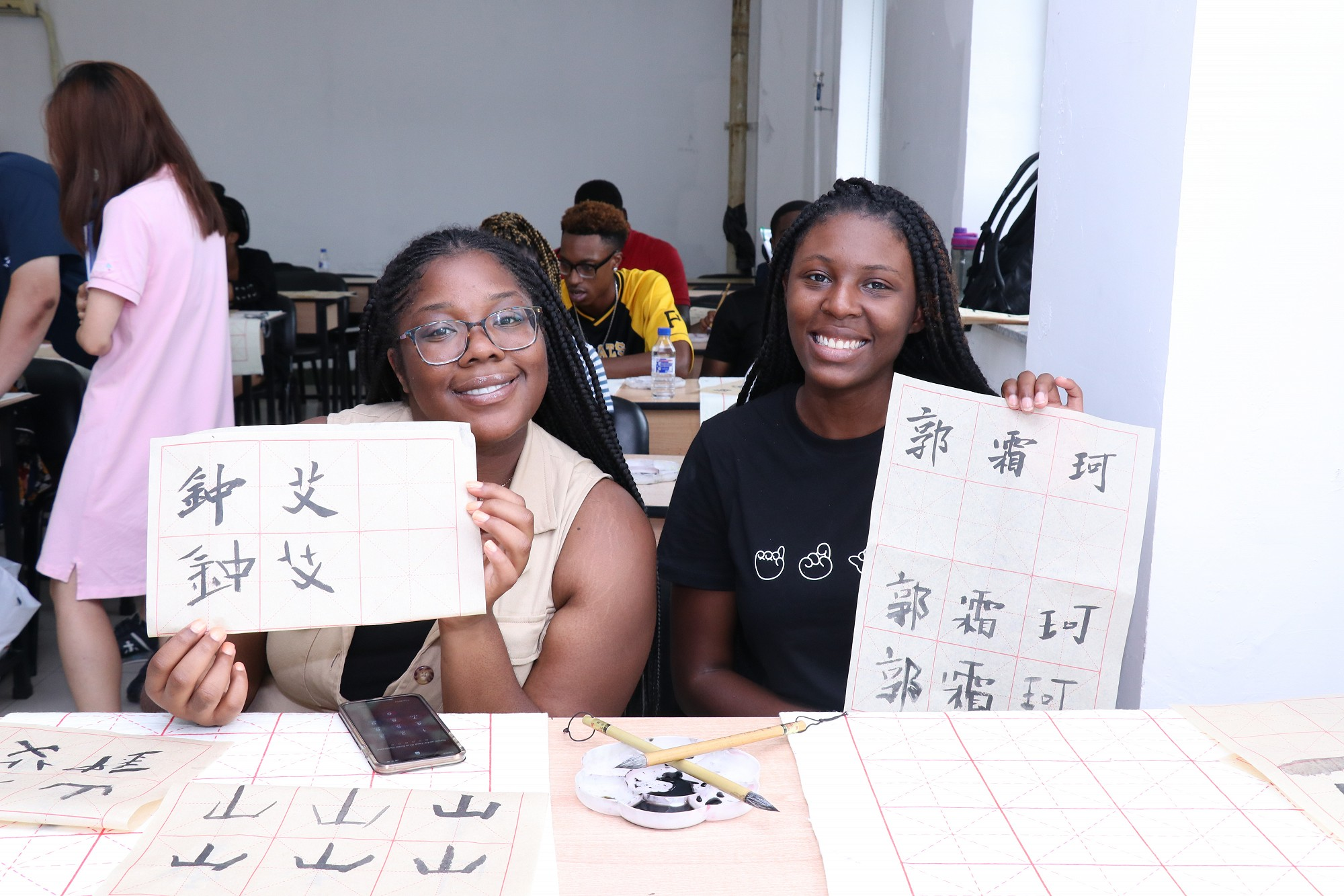 CAU students practicing Chinese Calligraphy at Jilin University