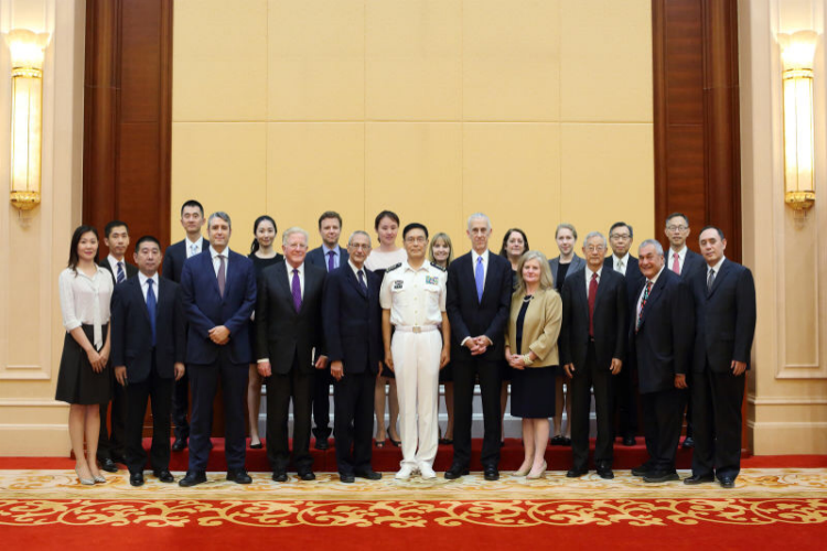 Group photo with Admiral Sun Jianguo (center), Chief of Staff of the People's Liberation Army
