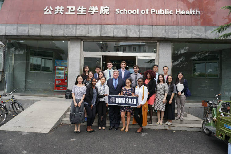 Interacting with professors and students of School of Public Health, Peking University