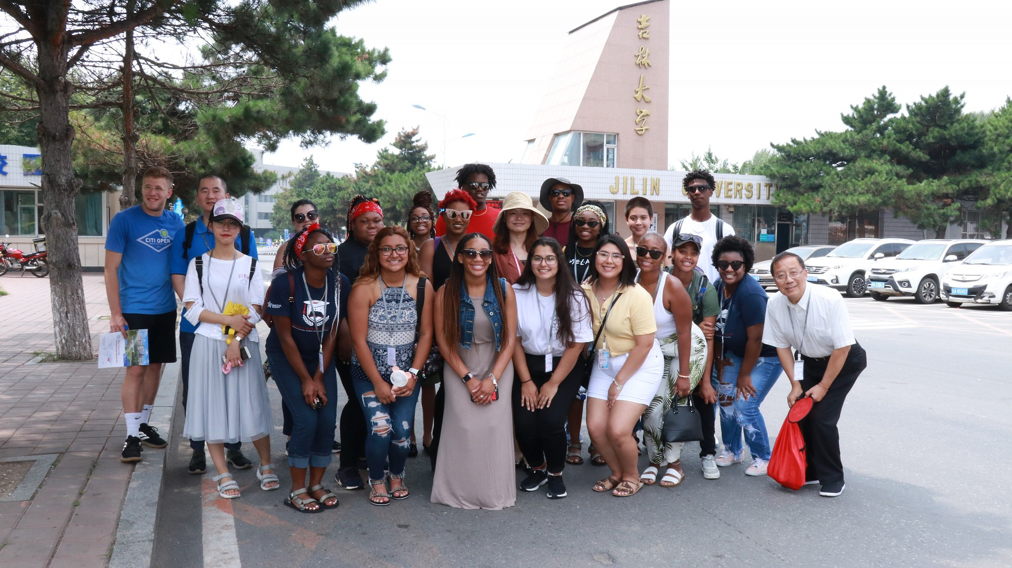 Lone Star College students taking a group picture outside Jilin University